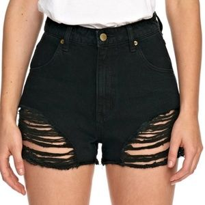 Rolla's Black High Waisted Distressed Shorts sz 27